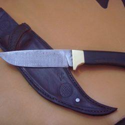 Jagdmesser mit LederscheideBanddamast ca. 350 Lagen